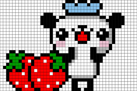 Panda and Strawberries Pixel Art