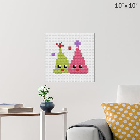 Party Hats Brick Poster
