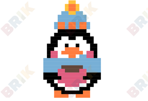 Penguin with Hot Choco Pixel Art