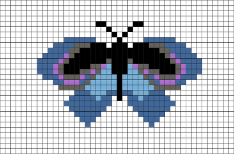 Butterfly - Pipevine Swallowtail Pixel Art