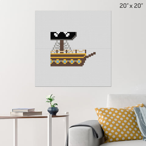 Pirate Ship Front Brick Poster
