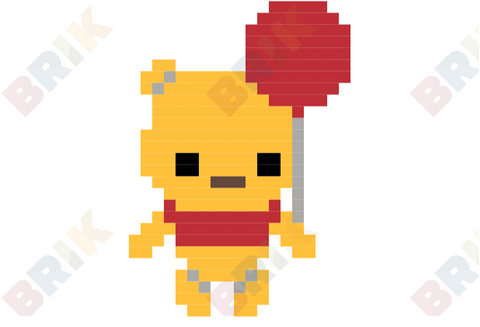 Pooh and Balloon Pixel Art