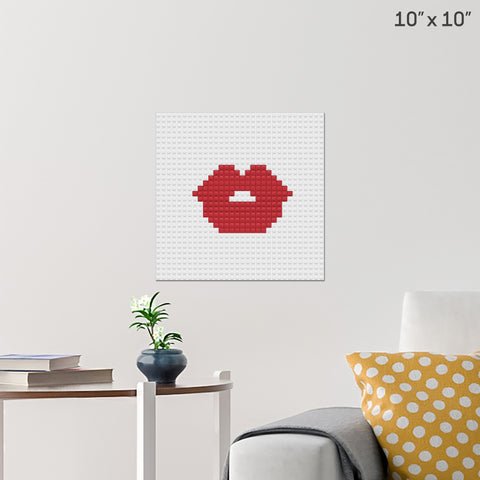 Red Lips Brick Poster