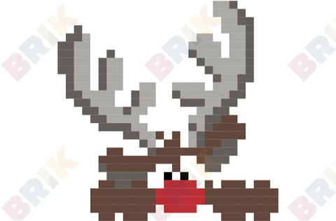 Red-Nosed Reindeer Pixel Art