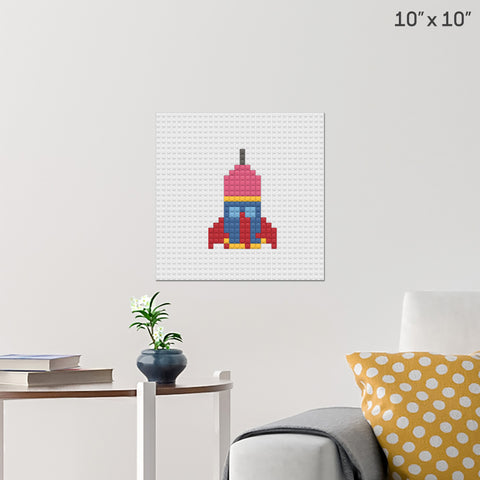 Rocket Ship Brick Poster