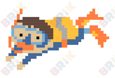 Scuba Diving Pixel Art