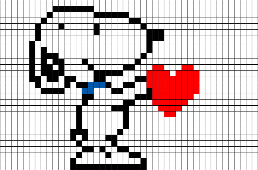 snoopy heart pixel art brik. Black Bedroom Furniture Sets. Home Design Ideas