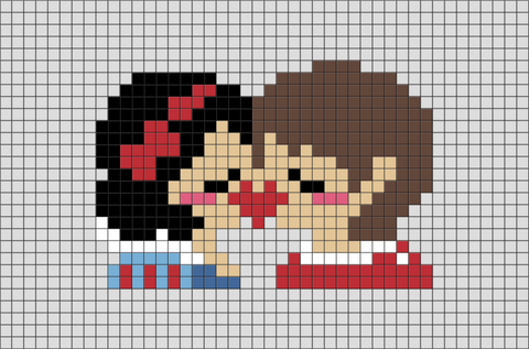 Snow White and the Prince Pixel Art