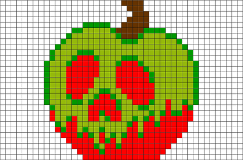 Snow White Poisoned Apple Pixel Art