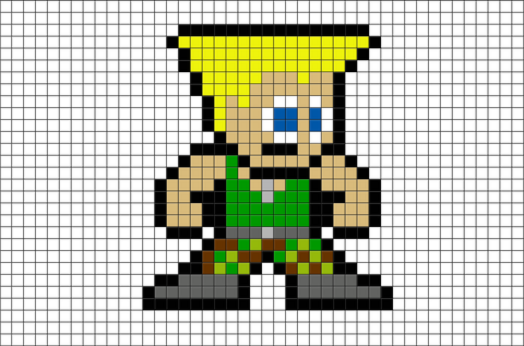 Street Fighter Guile Pixel Art