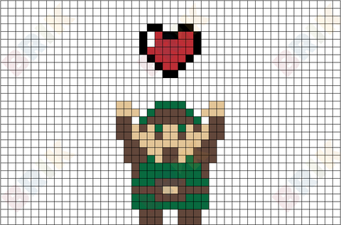 Take This Link Zelda Heart Pixel Art
