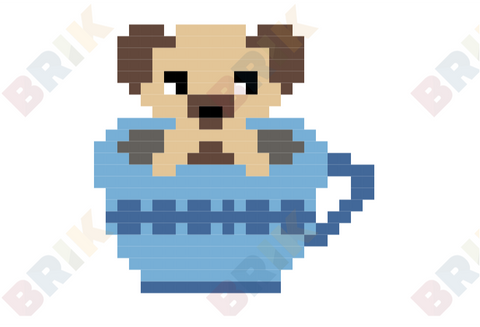 Tea Cup Puppy Pixel Art