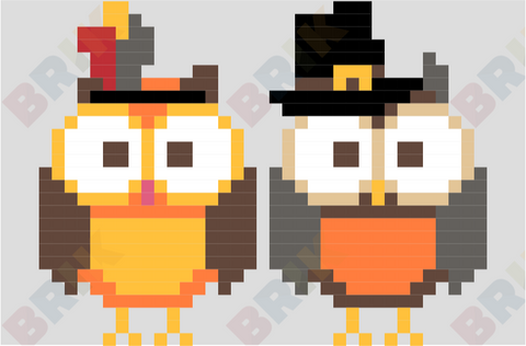 Thanksgiving Owl Pixel Art