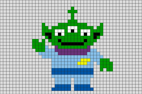 Toy Story 3-Eyed Alien Pixel Art