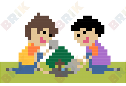 Tree Planting Pixel Art