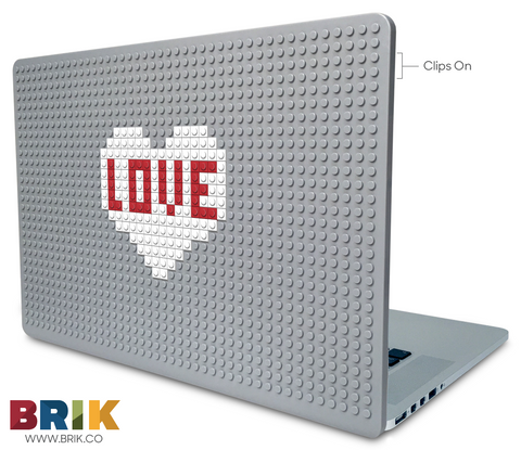 White Love Heart Laptop Case