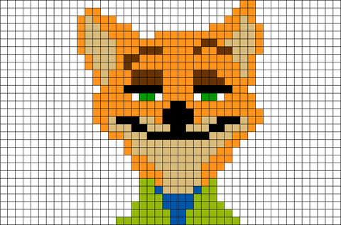 Zootopia Fox Nick Wilde Pixel Art