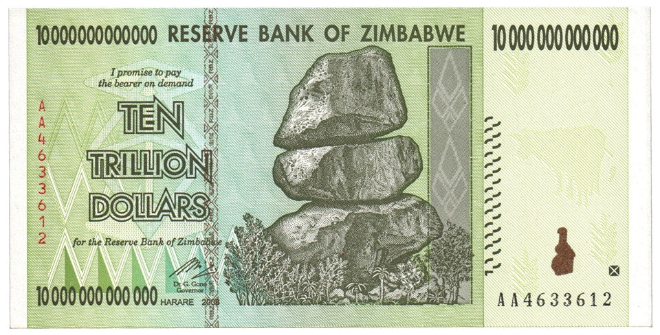 10 Trillion Zimbabwe Dollars AA 2008 Uncirculated