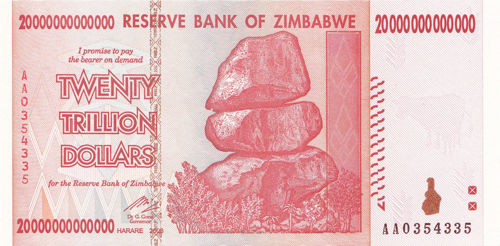 20 Trillion Zimbabwe Dollar AA 2008 Series Uncirculated