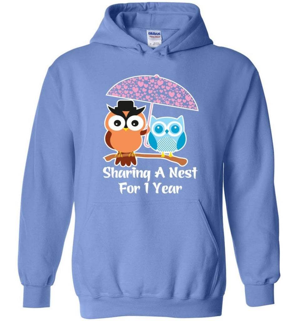 1 Year Wedding Anniversary Gifts Valentine's Day Hoodie - Carolina Blue / M