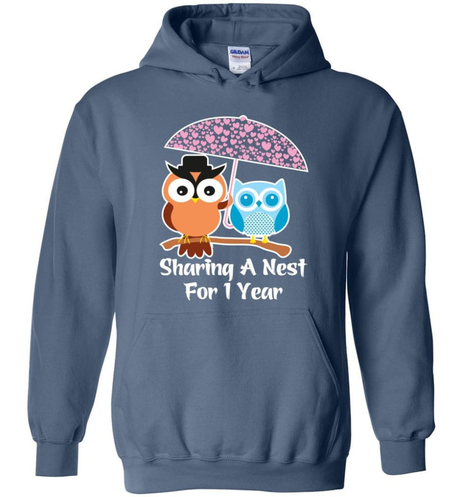 1 Year Wedding Anniversary Gifts Valentine's Day Hoodie - Indigo Blue / M