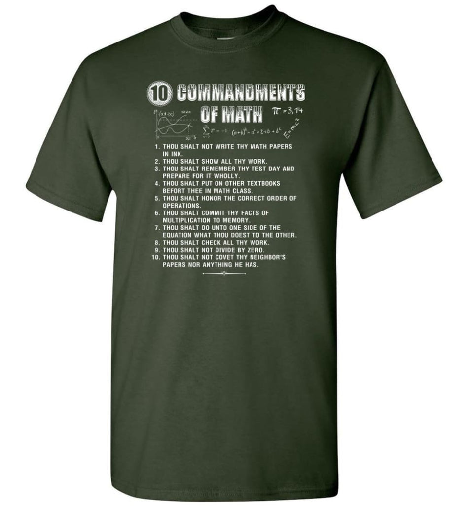 10 Commandments Of Math T-Shirt - Forest Green / S