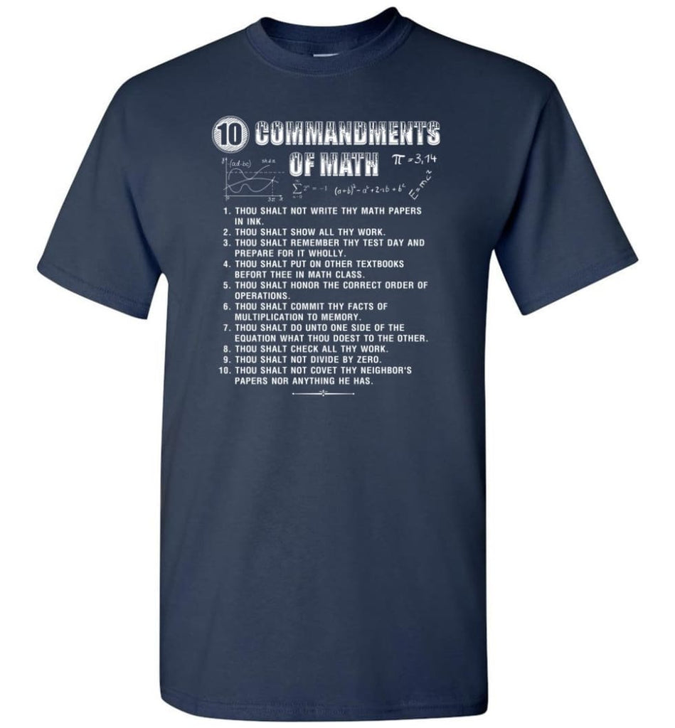 10 Commandments Of Math T-Shirt - Navy / S