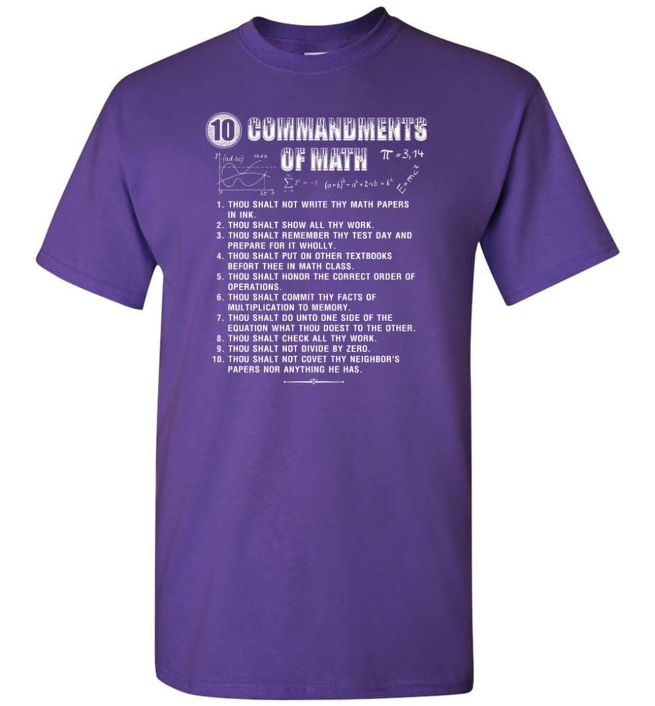 10 Commandments Of Math T-Shirt - Purple / S