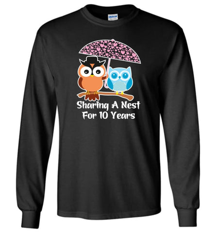 10 Years Wedding Anniversary Gifts Valentine's Day Long Sleeve T-Shirt - Black / M