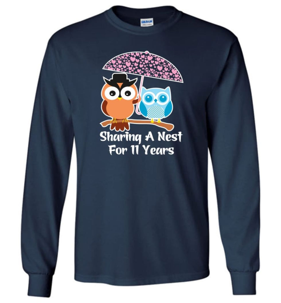 11 Years Wedding Anniversary Gifts Valentine's Day Long Sleeve T-Shirt - Navy / M