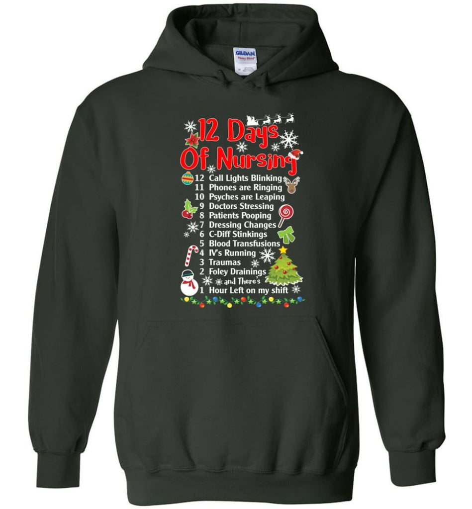 12 Days Of Nursing Christmas Gifts For Nurse Hoodie - Forest Green / M
