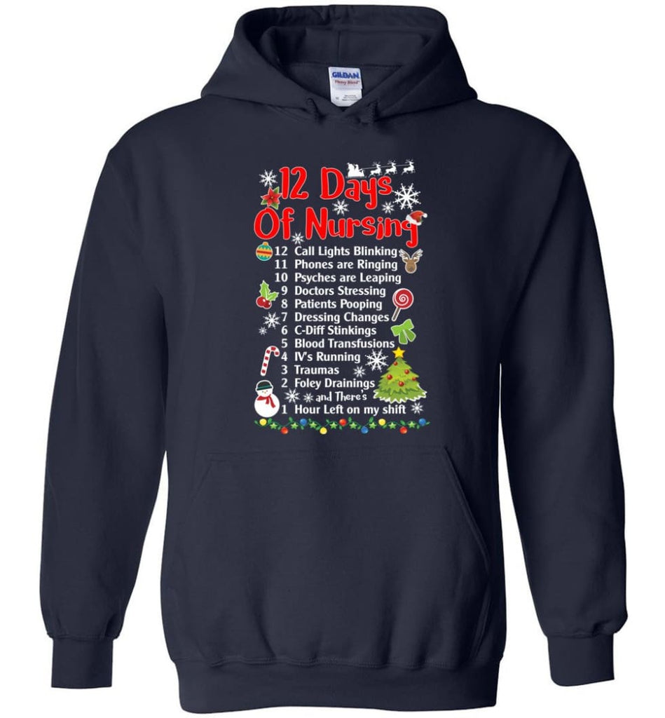 12 Days Of Nursing Christmas Gifts For Nurse Hoodie - Navy / M