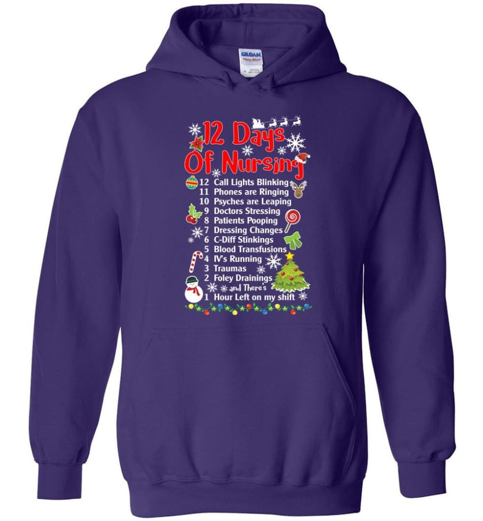 12 Days Of Nursing Christmas Gifts For Nurse Hoodie - Purple / M
