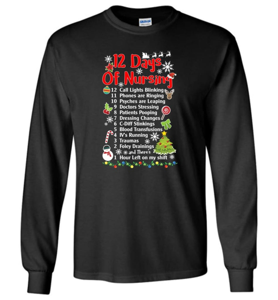 12 Days Of Nursing Christmas Gifts For Nurse Long Sleeve T-Shirt - Black / M