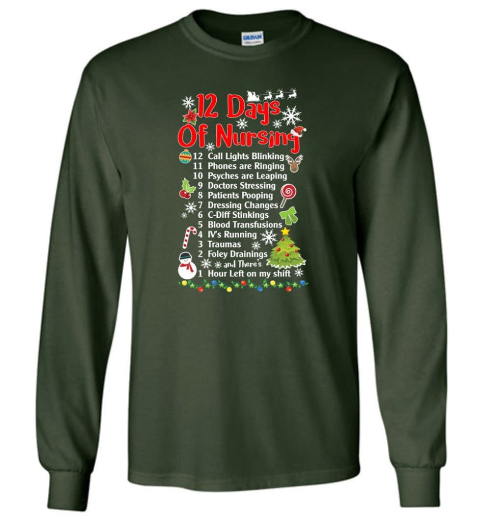 12 Days Of Nursing Christmas Gifts For Nurse Long Sleeve T-Shirt - Forest Green / M