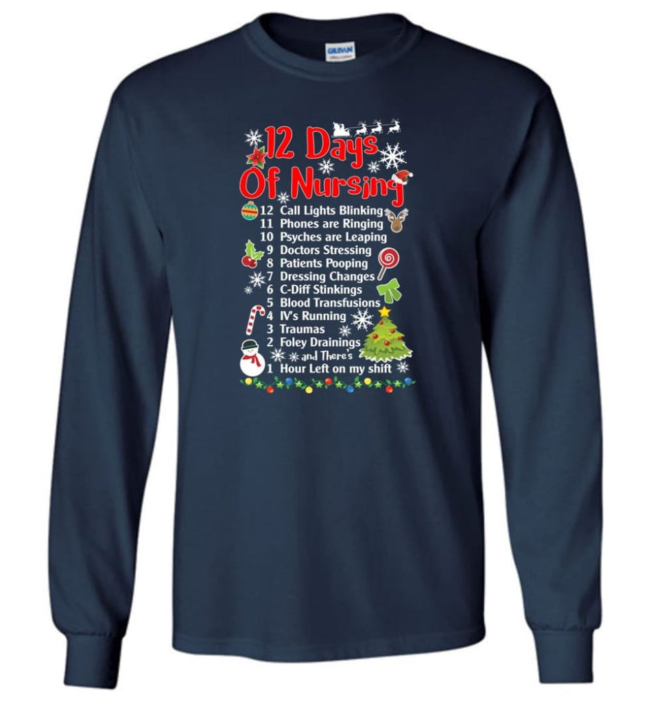 12 Days Of Nursing Christmas Gifts For Nurse Long Sleeve T-Shirt - Navy / M