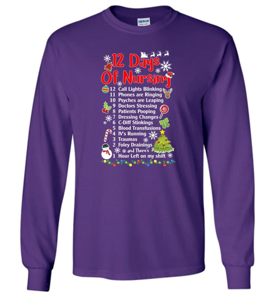 12 Days Of Nursing Christmas Gifts For Nurse Long Sleeve T-Shirt - Purple / M