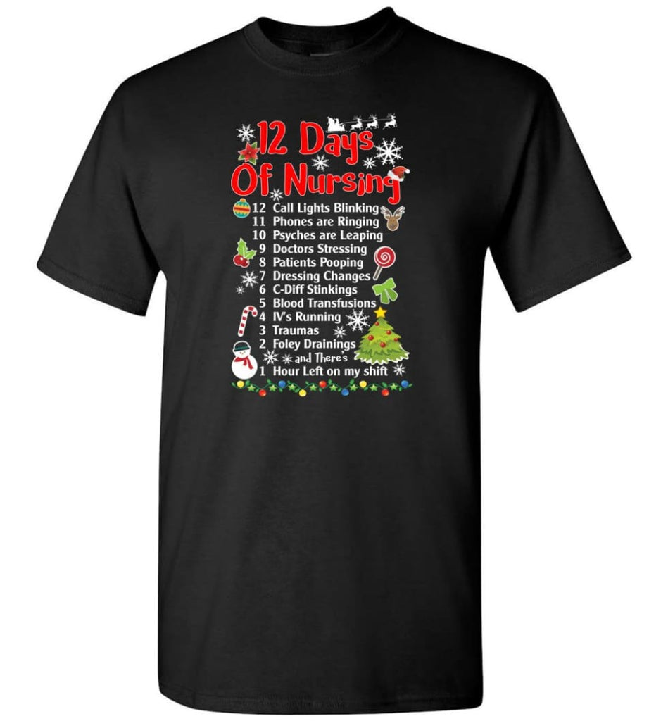 12 Days Of Nursing Christmas Gifts For Nurse T-Shirt - Black / S