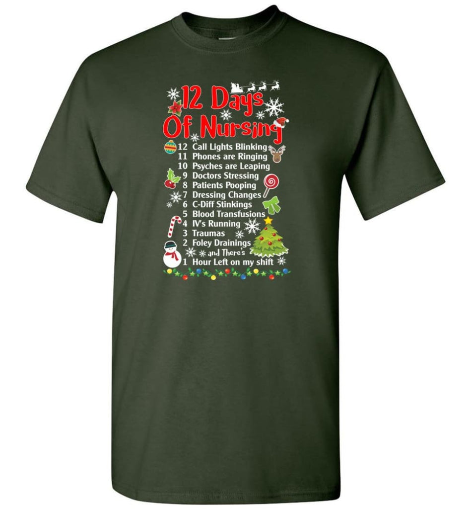 12 Days Of Nursing Christmas Gifts For Nurse T-Shirt - Forest Green / S