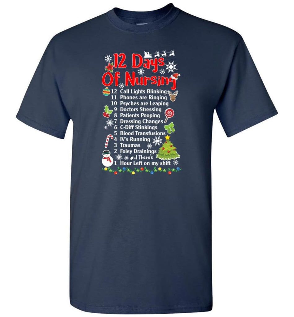 12 Days Of Nursing Christmas Gifts For Nurse T-Shirt - Navy / S
