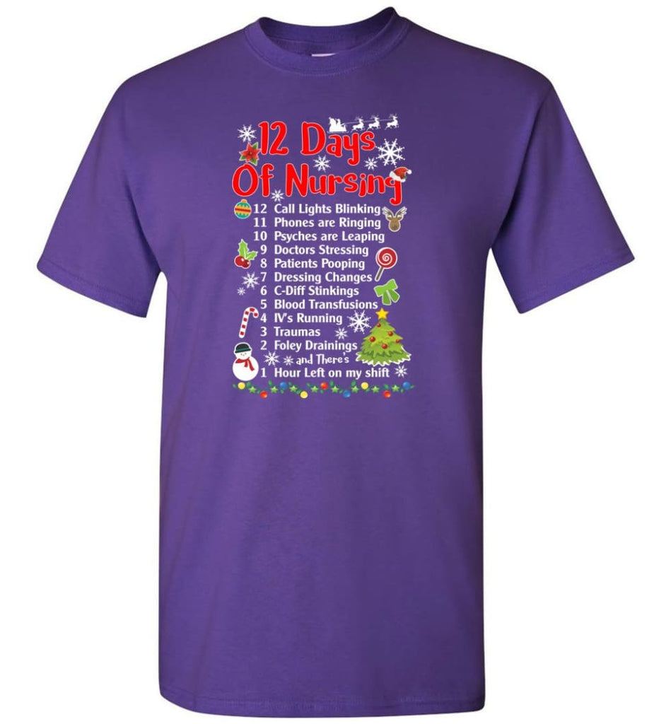 12 Days Of Nursing Christmas Gifts For Nurse T-Shirt - Purple / S