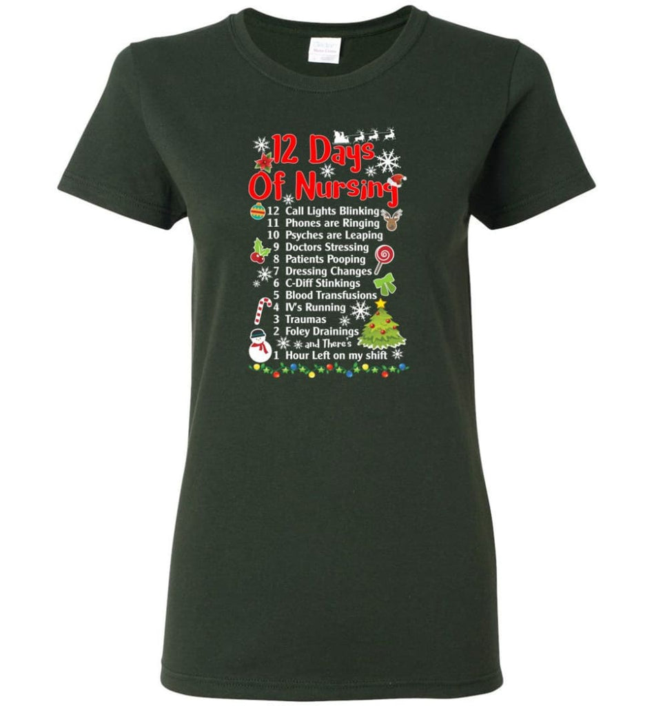 12 Days Of Nursing Christmas Gifts For Nurse Women T-Shirt - Forest Green / M