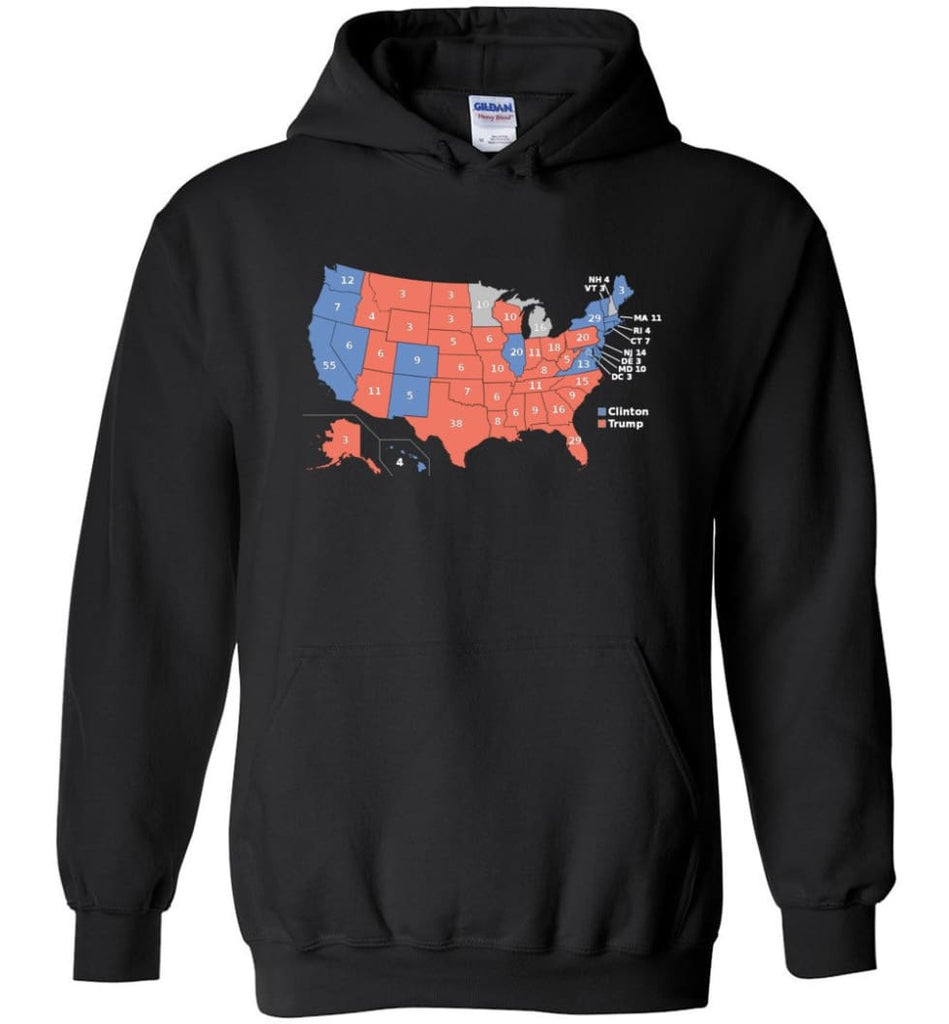2016 Presidential Election Map Shirt Hoodie - Black / M