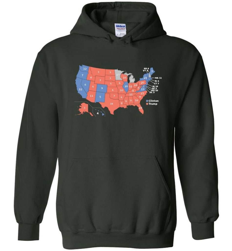 2016 Presidential Election Map Shirt Hoodie - Forest Green / M