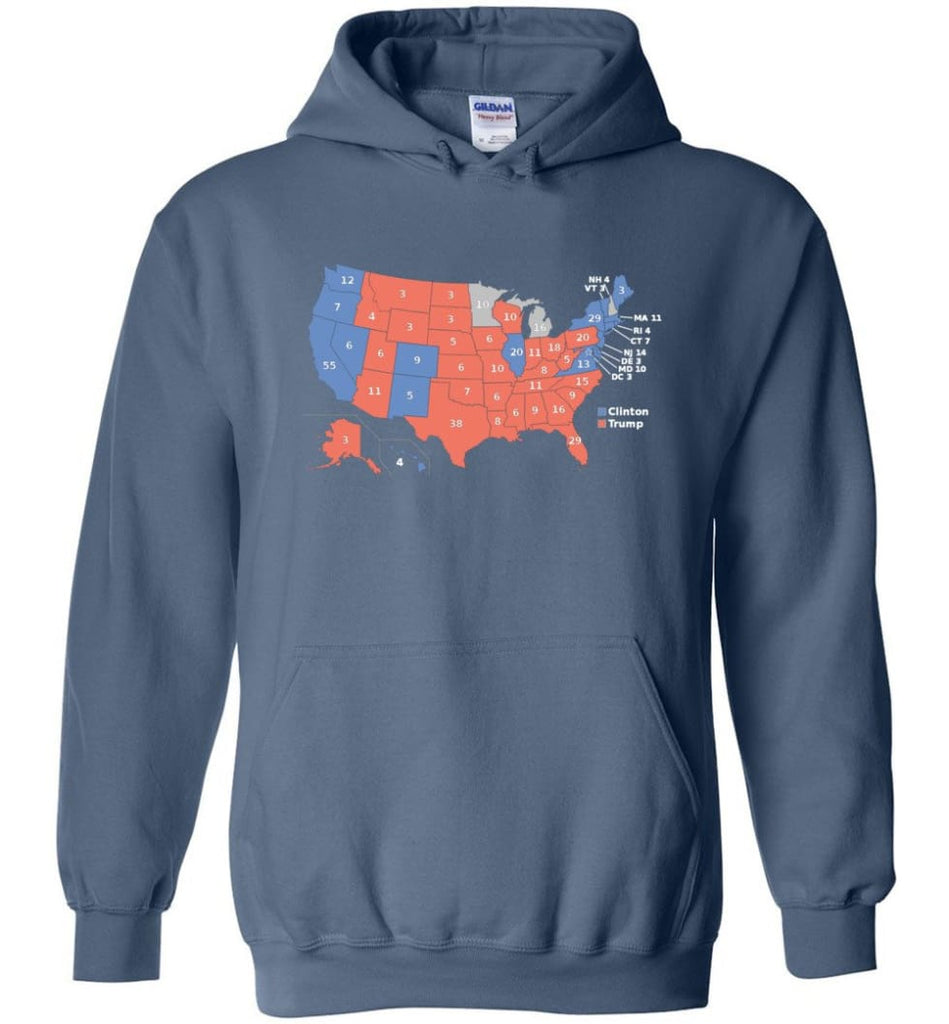 2016 Presidential Election Map Shirt Hoodie - Indigo Blue / M
