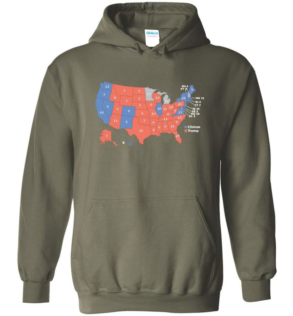 2016 Presidential Election Map Shirt Hoodie - Military Green / M