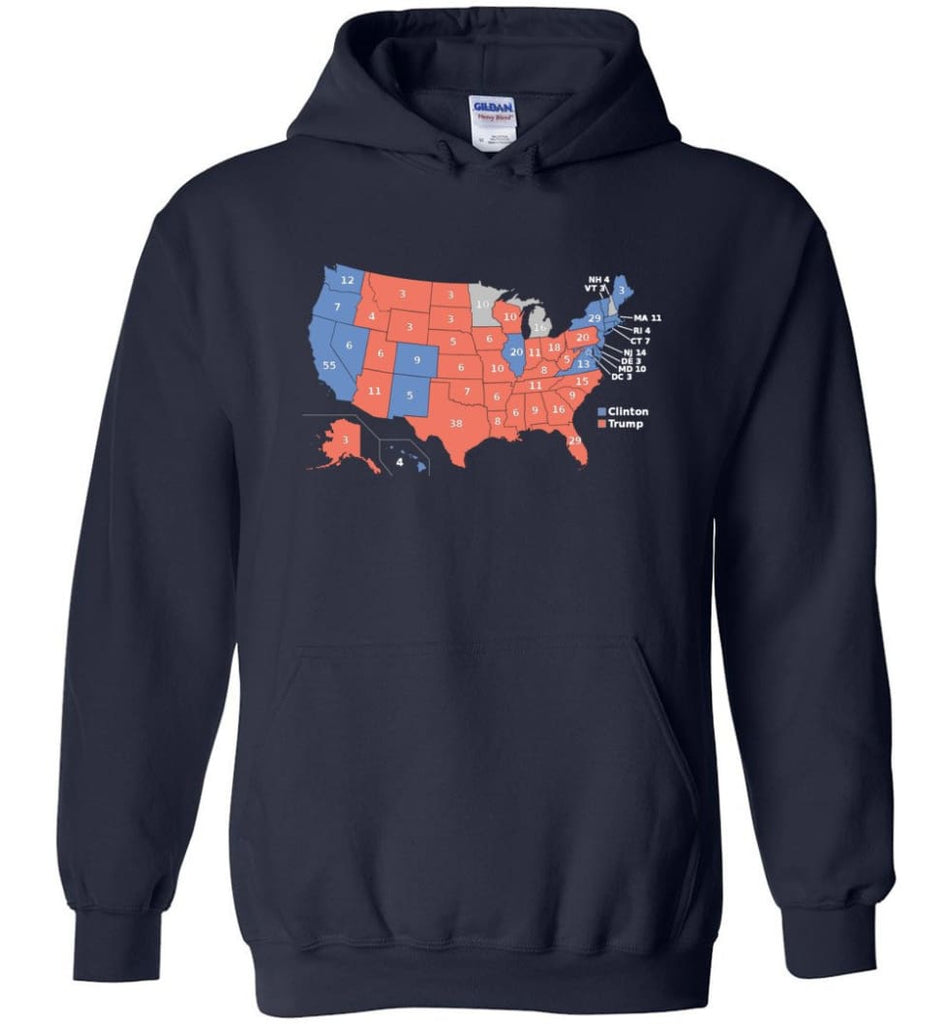2016 Presidential Election Map Shirt Hoodie - Navy / M