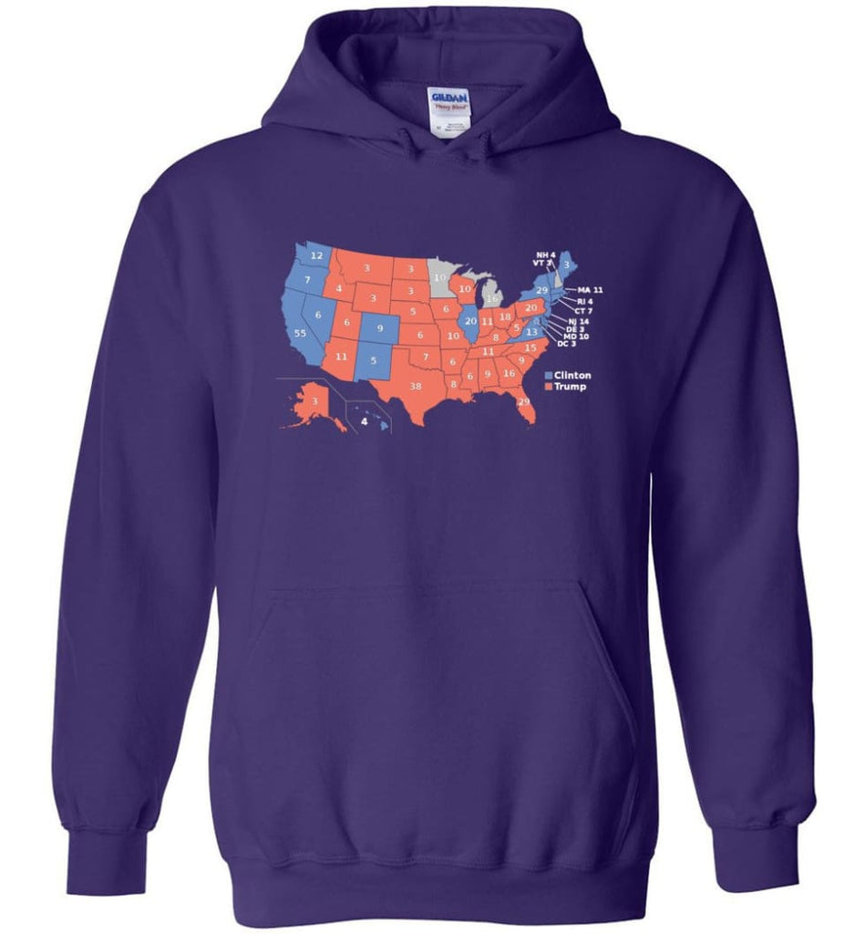 2016 Presidential Election Map Shirt Hoodie - Purple / M