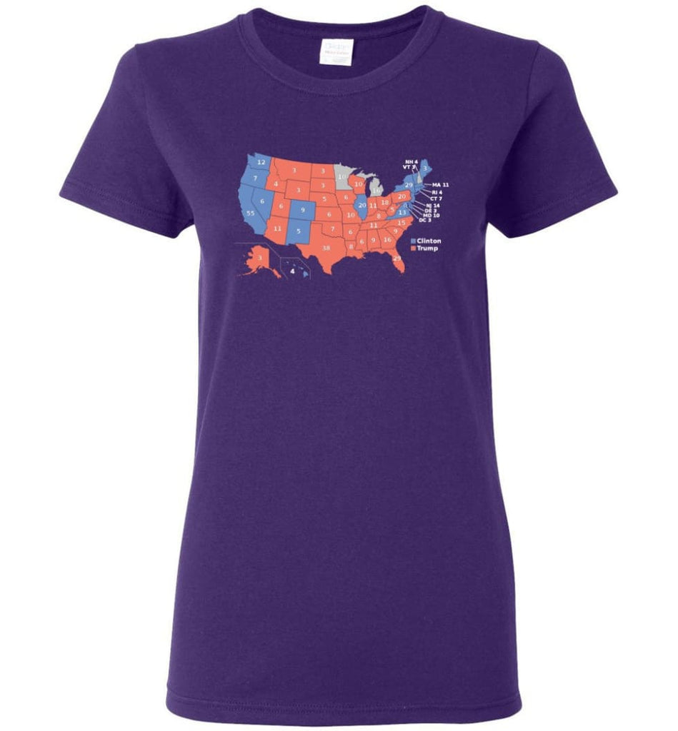 2016 Presidential Election Map Shirt Women Tee - Purple / M