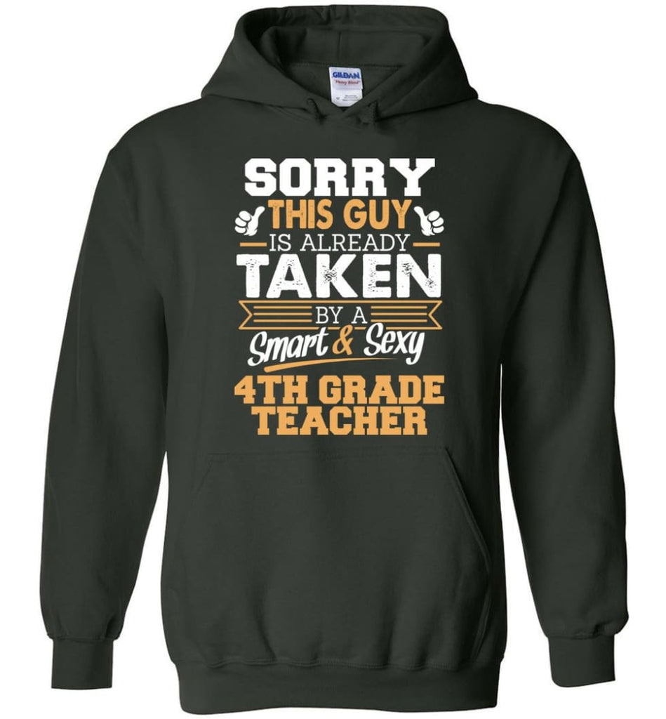 4Th Grade Teacher Shirt Cool Gift For Boyfriend Husband Hoodie - Forest Green / M
